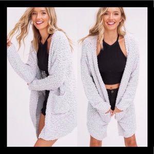 New Listicle Popcorn Cardigan Sweater Grey